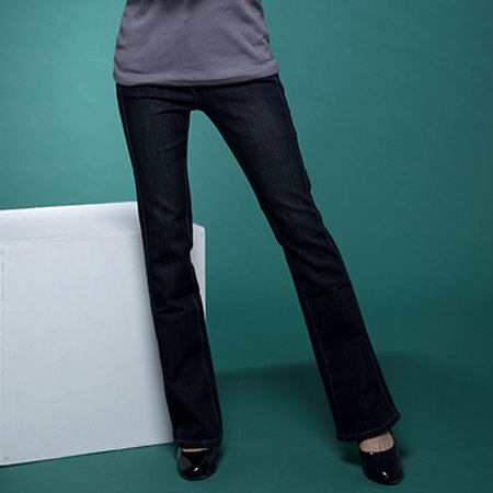 牛仔褲--絕對顯瘦素面側邊車線中腰小喇叭牛仔褲(S-7L)-N31眼圈熊中大尺碼 0