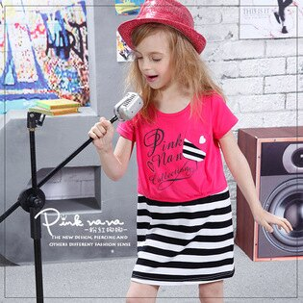Pink Nana:PINKNANA童裝女童桃紅娜娜假兩件棉質洋裝31137