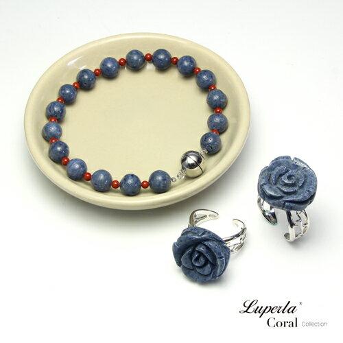大東山珠寶 深海玫瑰 珍貴天然深海藍珊瑚純銀戒指 2