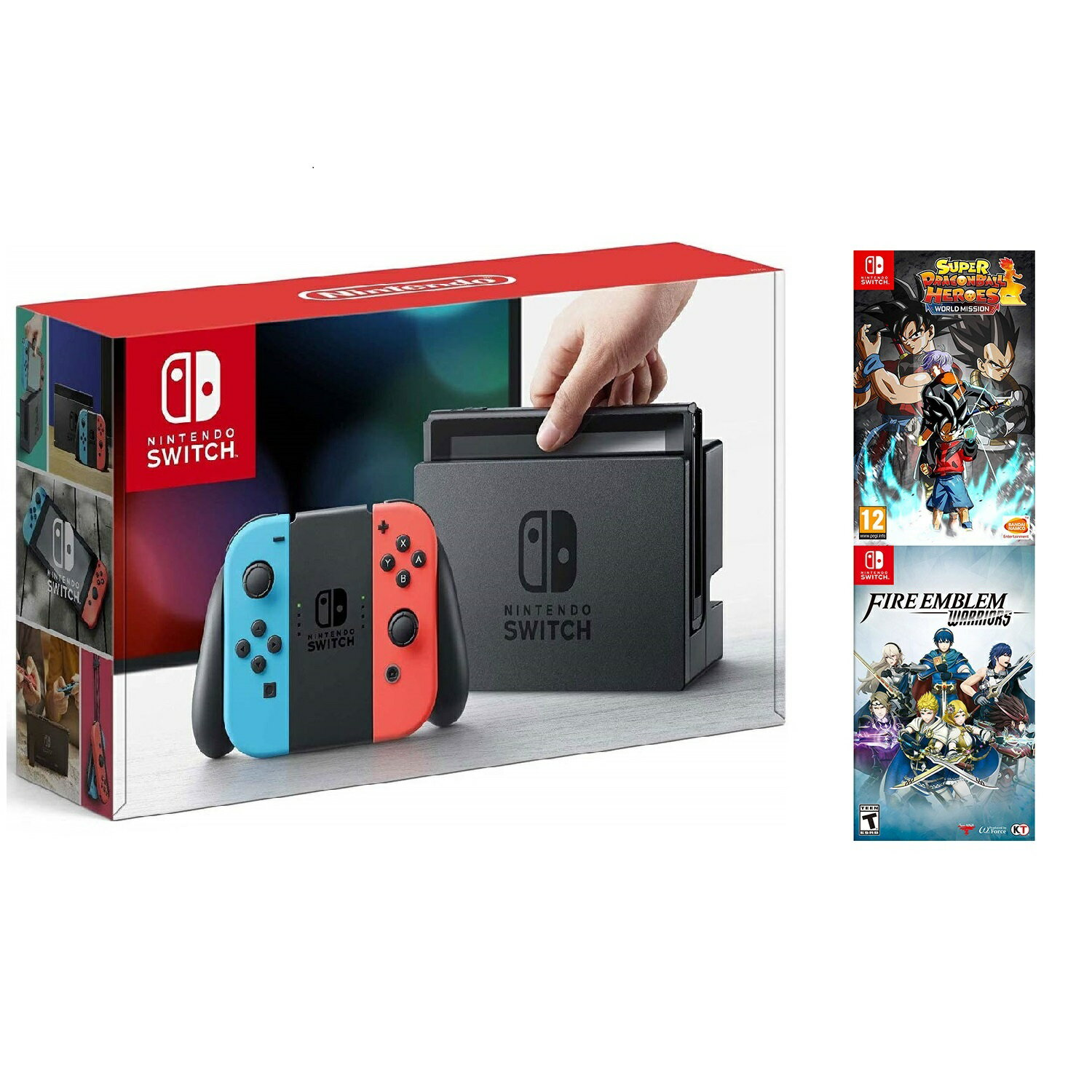 Nintendo Switch 32GB Neon Console with Fire Emblem Warriors & Dragon Ball Heros Bundle
