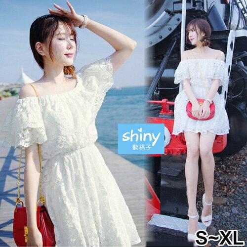 【V2413】shiny藍格子-輕柔微夏‧蕾絲一字領收腰連身裙洋裝