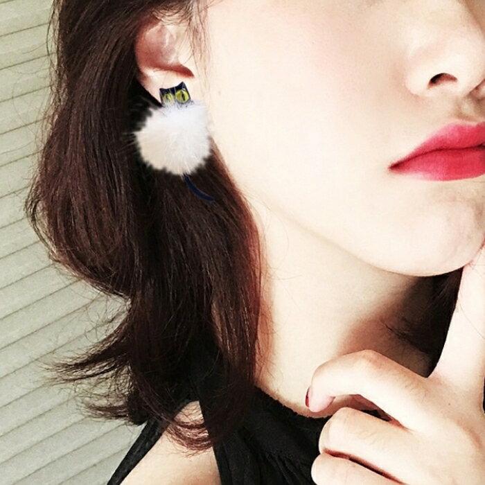 萌萌小貓咪可愛毛球耳環耳針(3色) X RUNWAY FASHION ICON 7