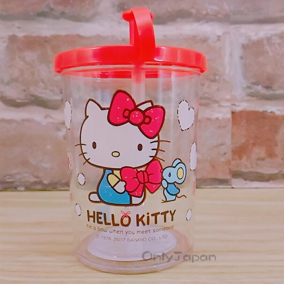 【真愛日本】18011200003 吸管水杯附蓋-KT愛心紅結 三麗鷗 KITTY 凱蒂貓 日用品 吸管杯 兒童水杯 學習杯