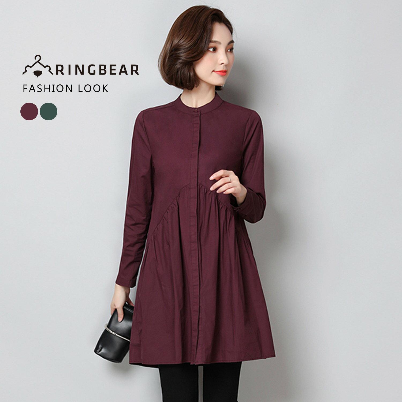 長版襯衫--復古氣質簡約素面貼領顯瘦細褶山形剪接襯衫(紅.綠XL-3L)-I103眼圈熊中大尺碼 0