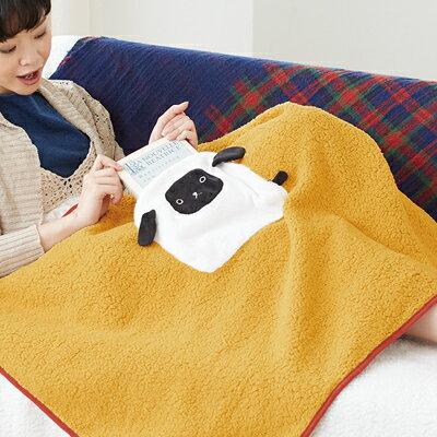 療癒時光動物造型暖毯/披巾/圍裙/抱枕/午睡枕 (附口袋) (熊熊) (貓咪) (綿羊) ◤apmLife生活雜貨◢