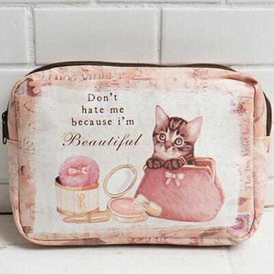 華麗風稚氣貓臉化妝包 ◤apmLife生活雜貨◢