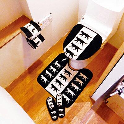apm life:冬日溫暖黑貓馬桶蓋套&腳踏墊組◤apmLife生活雜貨◢