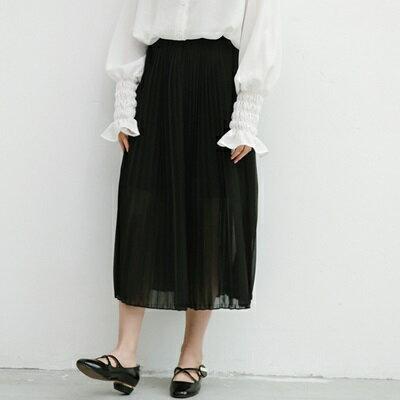 半身裙雪紡中長裙-純色清新氣質百摺女裙子73rw32【獨家進口】【米蘭精品】