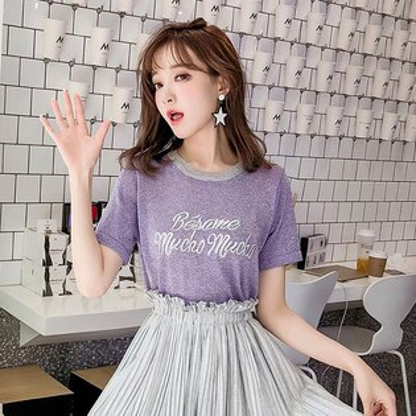 刺繡字母亮粉T撞色亮絲冰絲短袖上衣金屬感閃亮寬鬆顯瘦紫粉韓國ANNAS.
