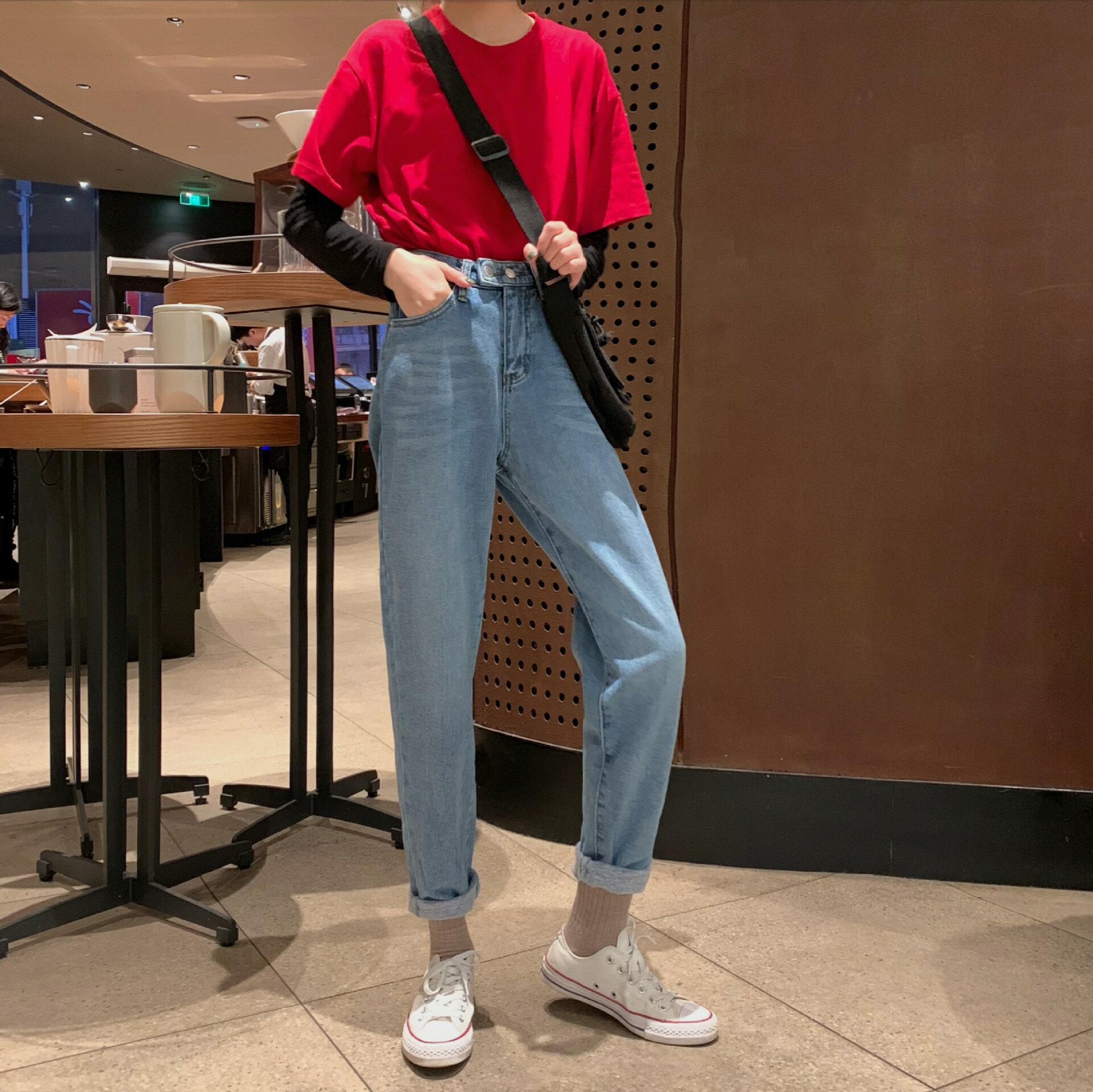 實拍實價!基礎百搭直筒牛仔褲女韓版學生高