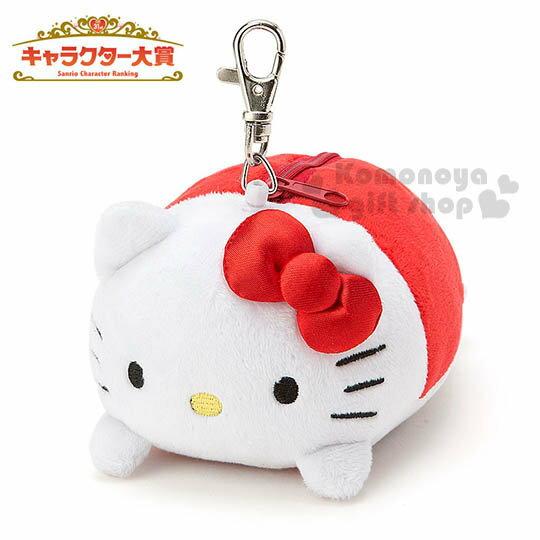 〔小禮堂〕Kitty造型絨毛票卡零錢包《紅.趴姿.附伸縮掛勾》2016Sanrio人物大賞系列