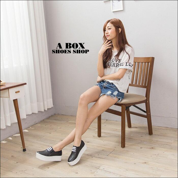 格子舖*【AAB113】MIT台灣製 嚴選韓版熱賣款 厚底增高5CM 基本皮革鬆糕鞋帆布鞋 2色 1