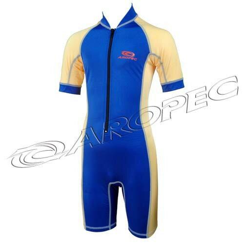 【【蘋果戶外】】AROPECDS-L11C-Lycra(藍黃)兒童短袖短褲連身水母衣百分百台灣製品質保證