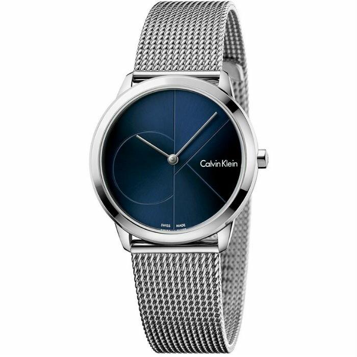 大高雄鐘錶城 CK Calvin klein 卡文克萊 Minimal系列(K3M2212N)時尚LOGO米蘭腕錶/ 藍面35mm