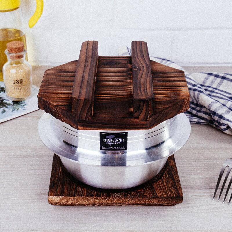 日本進口 不銹鋼煲仔炊飯鍋煲仔飯碗不沾煲仔飯煮粥 可直火 附木蓋