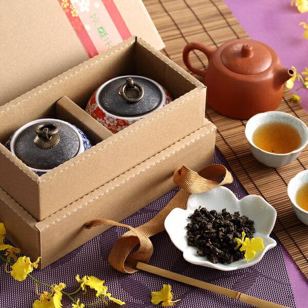 【茶鼎天】青花瓷鐵繡釉茶罐-台灣高山茶禮盒(100gx2罐)給最有品味的您!★ 1