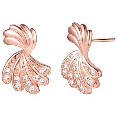 純銀耳環鍍18k金鑲鑽耳飾~ 復古氣質百搭情人節生日 女飾品2色73cz77~ ~~米蘭
