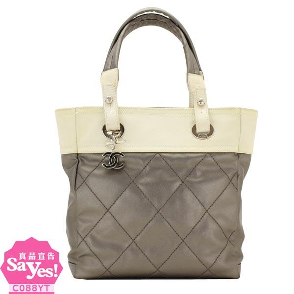 【奢華時尚】CHANEL 鐵灰色比亞里茲Biarritz肩背小購物包(八八成新) #19754