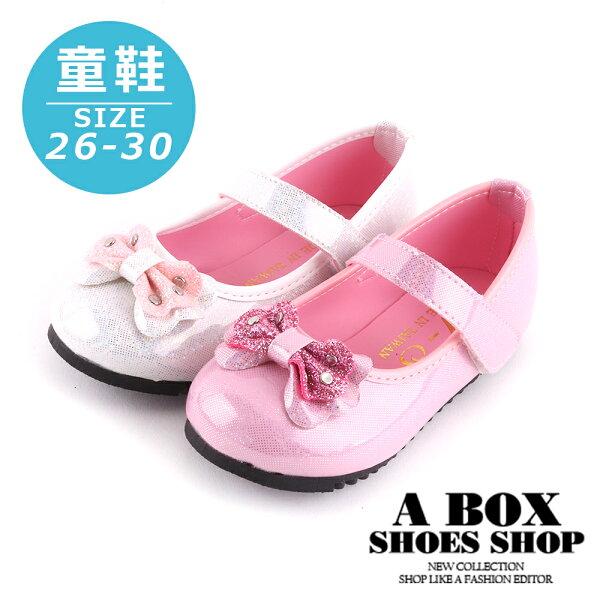 【AN239】(童鞋26-30)1CM休閒鞋可愛亮粉蝴蝶結魔鬼氈黏帶休閒鞋MIT台灣製2色