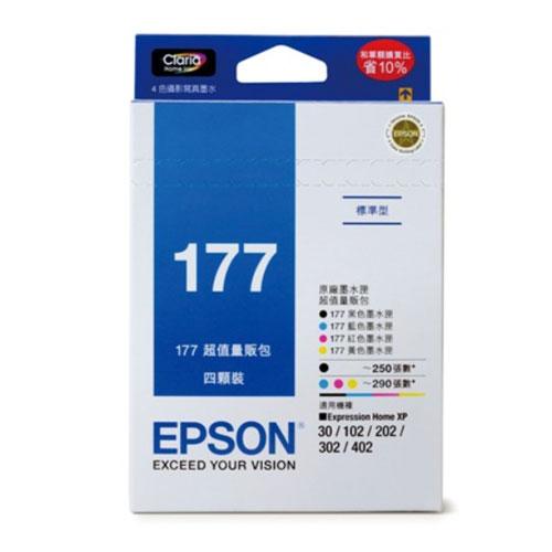 ~EPSON 墨水匣~T177650 墨水匣 4色量販包^(177^) XP~302