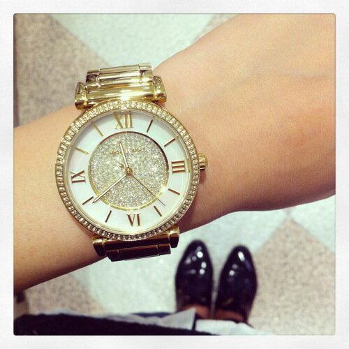 美國Outlet正品代購 MichaelKors MK 復古羅馬滿天星貝殼面鑲鑽金色    手錶 腕錶 MK3332 8