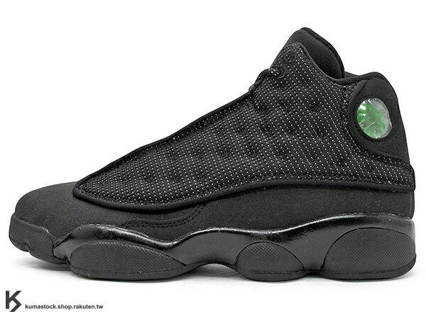 2017 經典再復刻 全新配色 NIKE AIR JORDAN 13 XIII RETRO BG GS BLACK CAT 大童鞋 女鞋 全黑 3M 麂皮 黑貓 AJ (884129-011) 0117