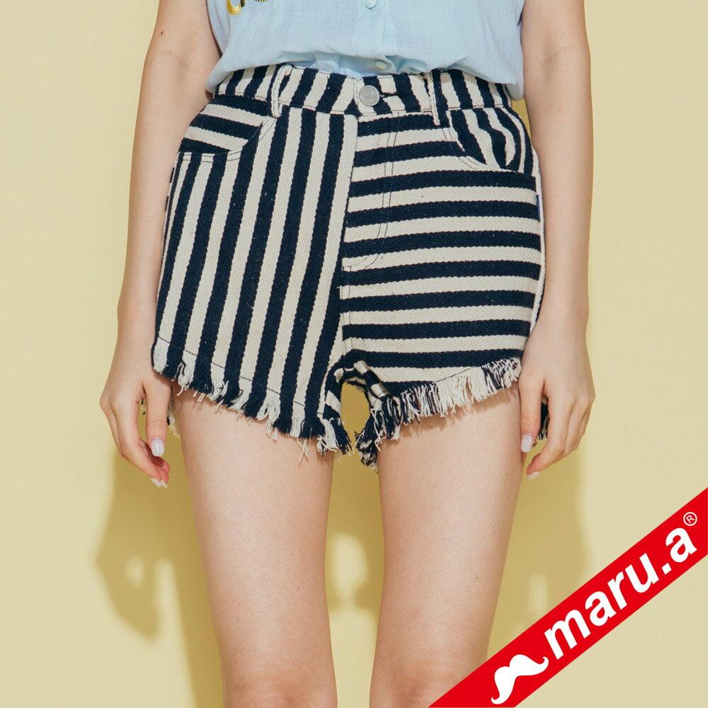 【maru.a】條紋拼接褲管抽鬚短褲 (兩色)8325111 3