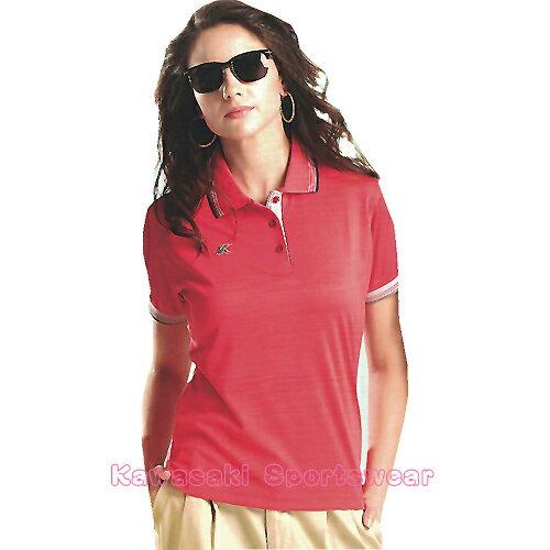 avalok 運動休閒服飾:【日本Kawasaki】女版運動休閒吸濕排汗短POLO衫(桃紅)#KW25A2