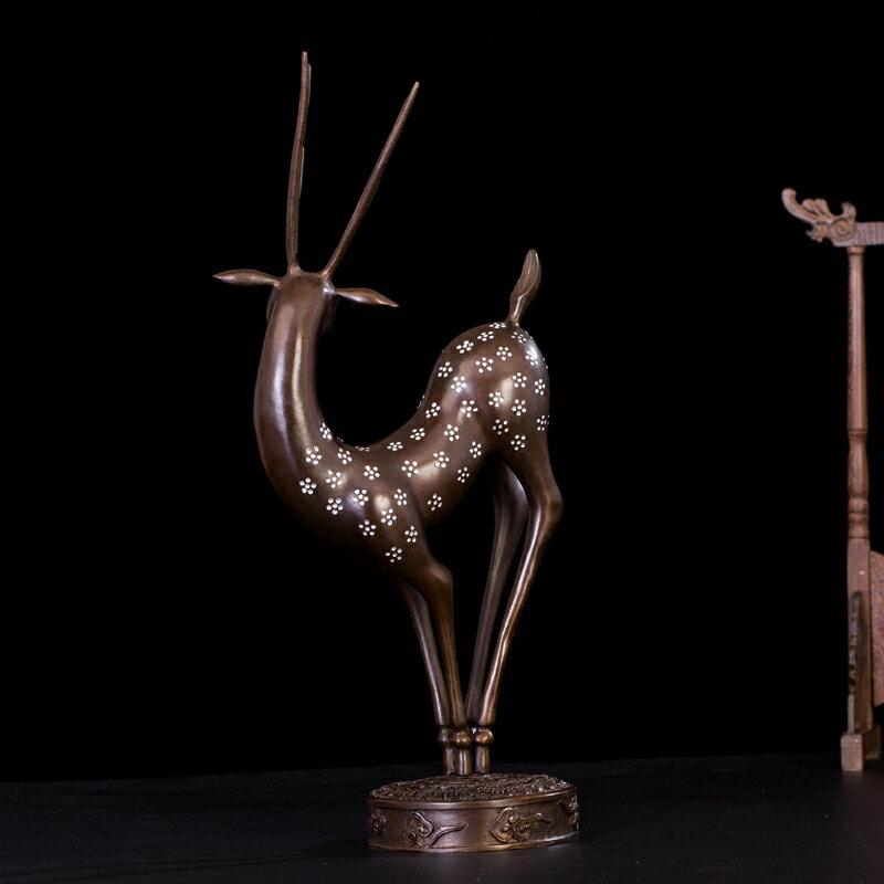 匠澤銅魂純銅梅花鹿客廳中式玄關家風水招財居裝飾工藝品銅鹿禮物