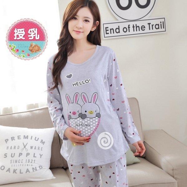 *漂亮小媽咪*HELLO BUNNY 兔子 印花 哺乳 睡衣 套裝 哺乳裝 居家服 BFS561FA