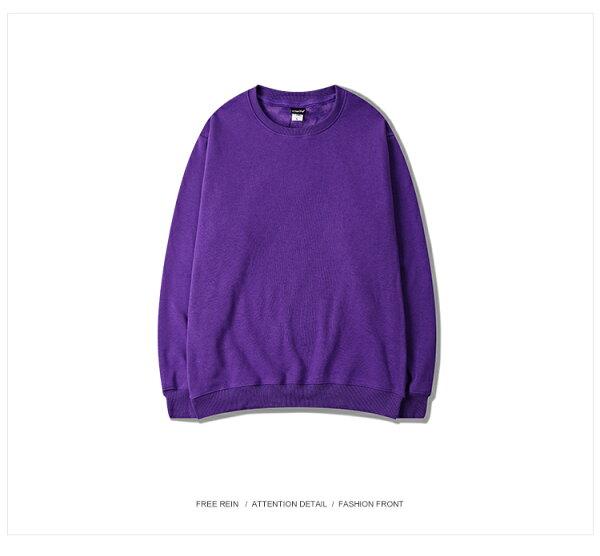 里奈子 Li-nagi:LINAGI秋冬加絨優質面料大學圓領T男女可穿【D05-6498】紫色