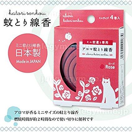 日本代購預購 日本製 小盒小片玫瑰蚊香 驅蚊香 防蚊 一片2小時 一盒4片 828-102