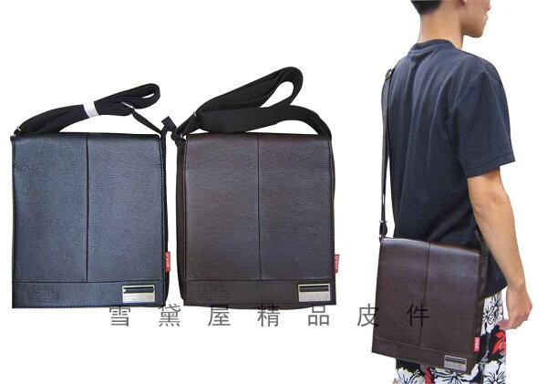 ~雪黛屋~ZOLO肩側包書包扁包設計隨身物品防水尼龍布+皮革材質外出隨身百搭款014-73511