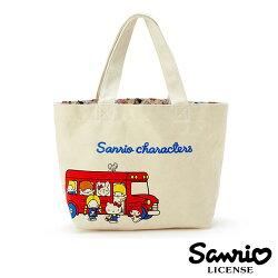 【日本進口正版】凱蒂貓 美樂蒂 三麗鷗 人物 刺繡 帆布 手提袋 便當袋 帆布包 Sanrio 095961