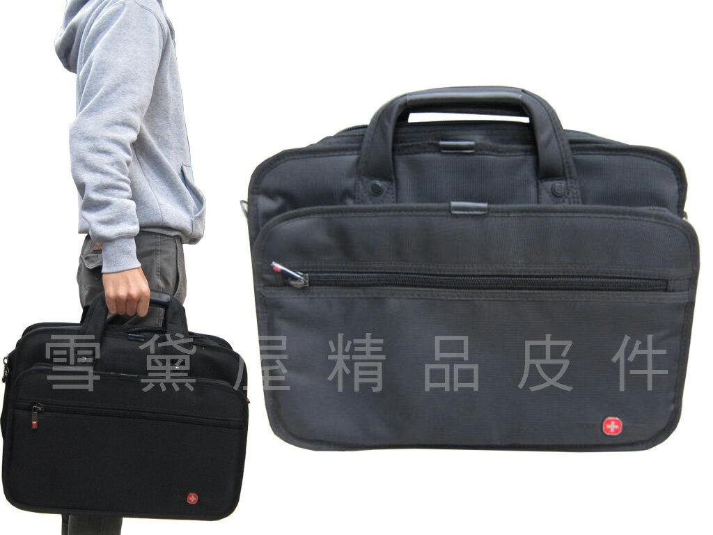 ~雪黛屋~OVER LAND 文件包超大容量二層主袋公事包可放14吋電腦可固定行李箱拉桿手提肩斜背附長背帶T24463