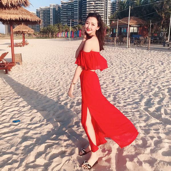 PSMall海邊度假二件套裝女兩件套顯瘦連身裙一字肩上衣洋裝【T308】