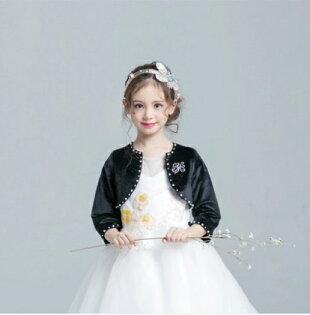 天使嫁衣:天使嫁衣【童CPJ15】黑色絨質貼鑽釘珠短版女童小外套˙預購訂製款