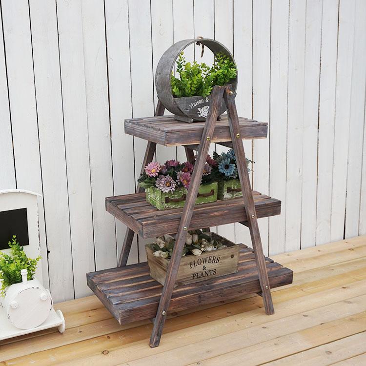 法式鄉村做舊三層花架服裝店酒吧咖啡店裝飾擺件園藝雜貨1入