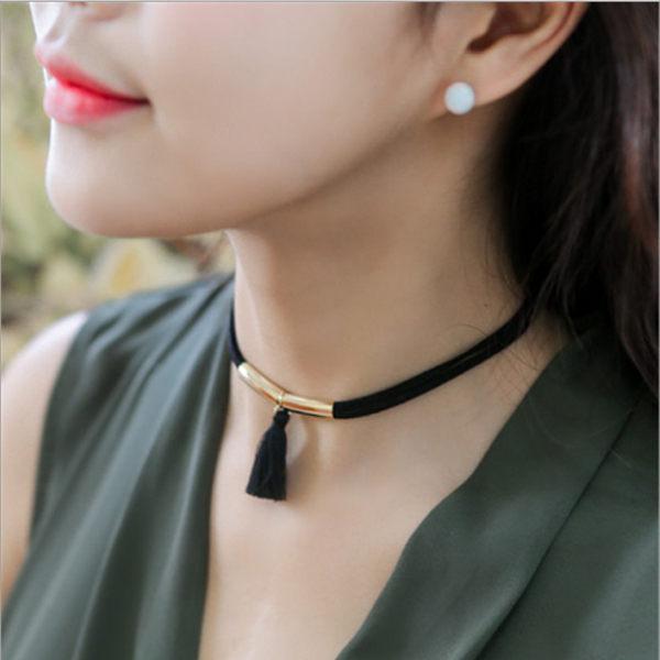PS Mall 韓版 時尚潮 流蘇個性管子雙層鏈子 百搭項鍊鎖骨鏈頸鏈【G1955】