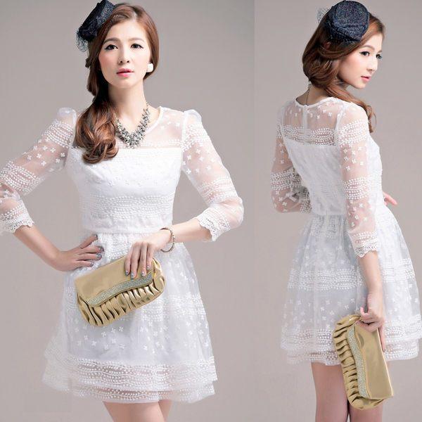 現貨白色*甜美宮廷風迷人緹花蕾絲鏤空袖連身小禮服[2333gk-S]灰姑娘