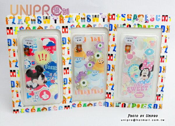 【UNIPRO】HTCONEE8迪士尼米奇米妮怪獸大學毛怪大眼TPU透明手機殼保護套正版授權