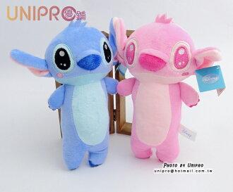 【UNIPRO】迪士尼 史迪奇 7吋 絨毛玩偶 造型長抱枕 娃娃 布偶 星際寶貝 吊飾