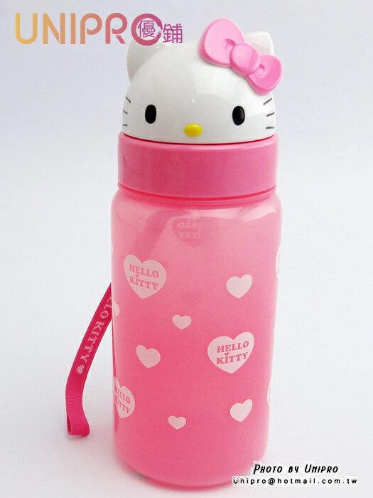 【UNIPRO】韓貨 HELLO KITTY 凱蒂貓 造型立體頭型 水壺 冷水壺 360ML 水瓶 三麗鷗正版授權