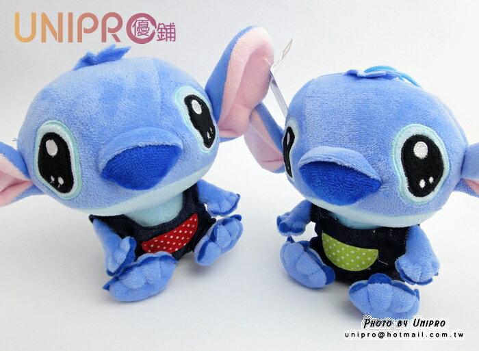 【UNIPRO】迪士尼 史迪奇 Disney Stitch 6吋 吊帶褲系列 絨毛玩偶 布