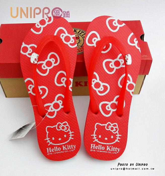 【UNIPRO】Hello Kitty 三麗鷗授權 鑽飾KT 人字拖 夾腳拖 拖鞋 海灘鞋 紅色 休閒鞋
