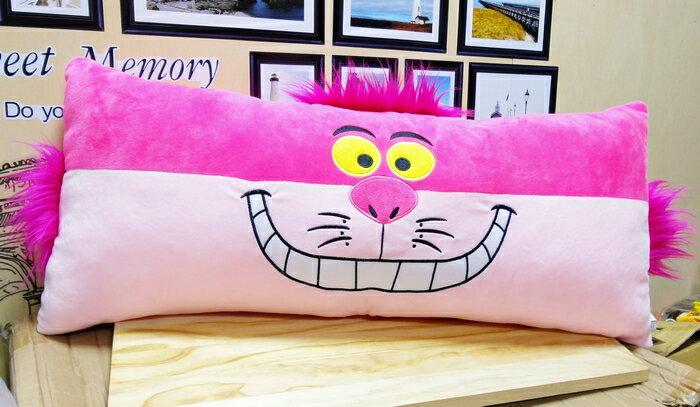 【UNIPRO】迪士尼 愛麗絲夢遊仙境 紫郡貓 妙妙貓 Cheshire Cat 雙人枕 長型枕 靠枕 抱枕 18吋