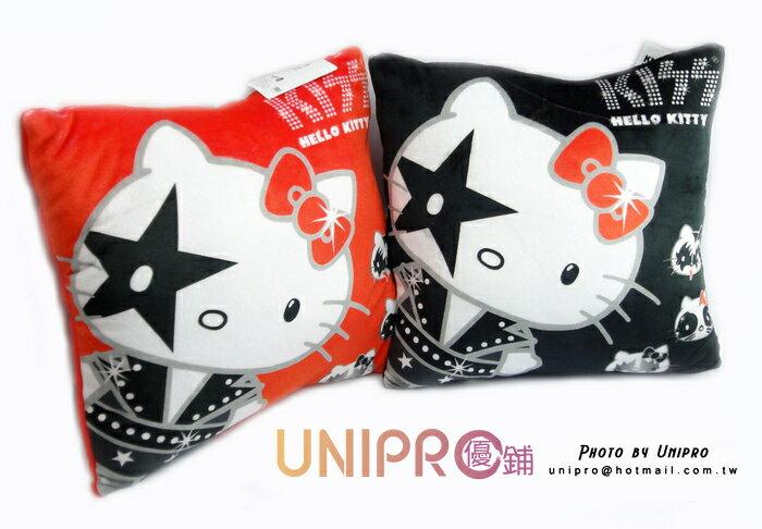 UNIPRO 三麗鷗 正版授權 Hello Kitty kiss rock 方枕 閃亮龐克 靠枕 抱枕 凱蒂貓