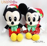送小孩聖誕禮物到【UNIPRO】迪士尼 正版授權 聖誕 米奇 米妮 唐老鴨 布魯托 蝴蝶結 坐姿 絨毛娃娃 玩偶 禮物 布偶 裝飾偶