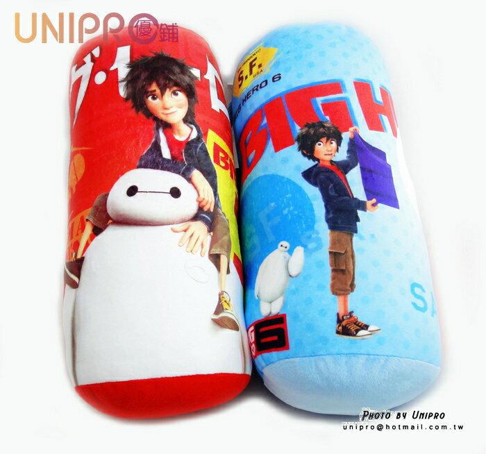 【UNIPRO】大英雄天團 Big Hero6 杯麵 BayMax 小廣Hiro 12吋 圓柱抱枕 長枕 迪士尼正版授權