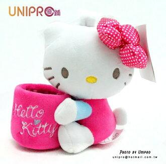 【UNIPRO】Hello Kitty 凱蒂貓 車用配件 手機座 置物座 筆筒 絨毛娃娃 玩偶 三麗鷗授權